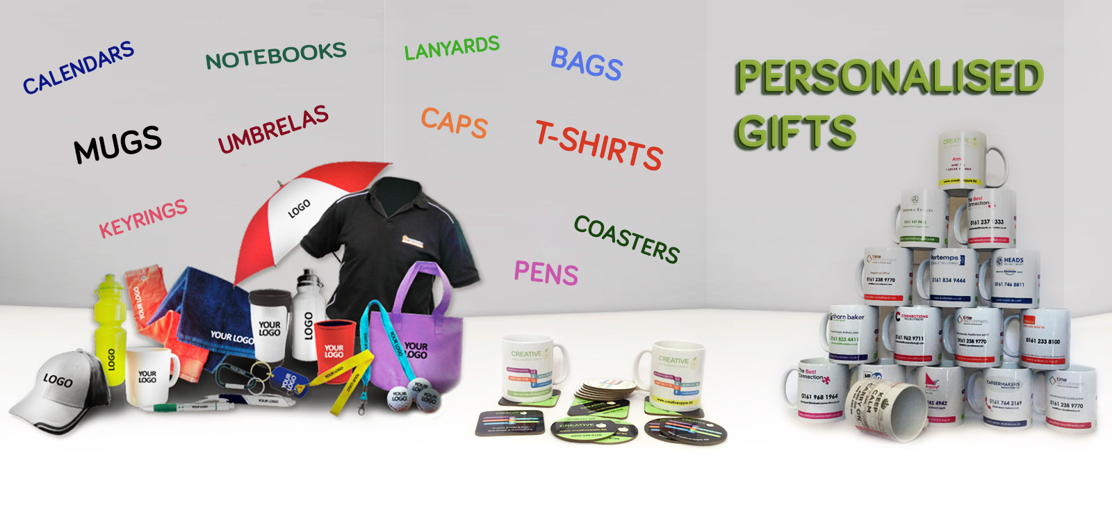 Personalised mugs, t-shirts, coasters, pens, calendars