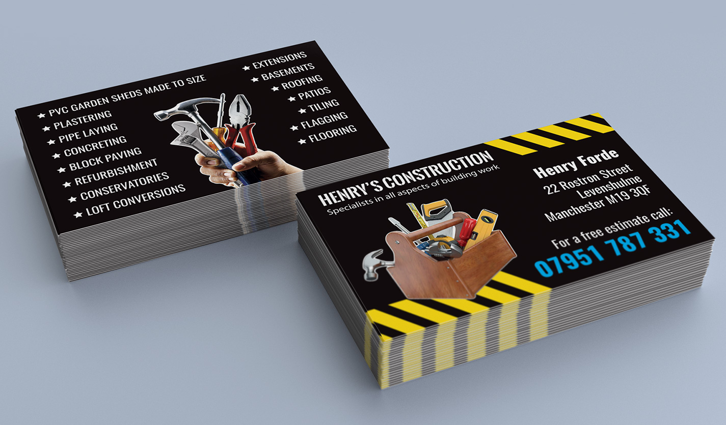 Henry\'s Construction - Business Cards - Web & Graphic Design Agency ...
