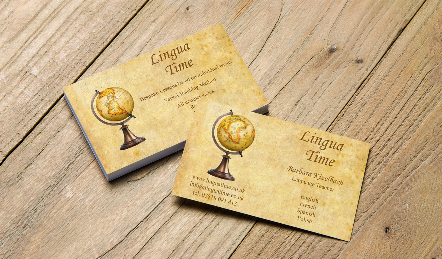 Lingua time business cards web graphic design agency stockport lingua time business cards reheart Gallery