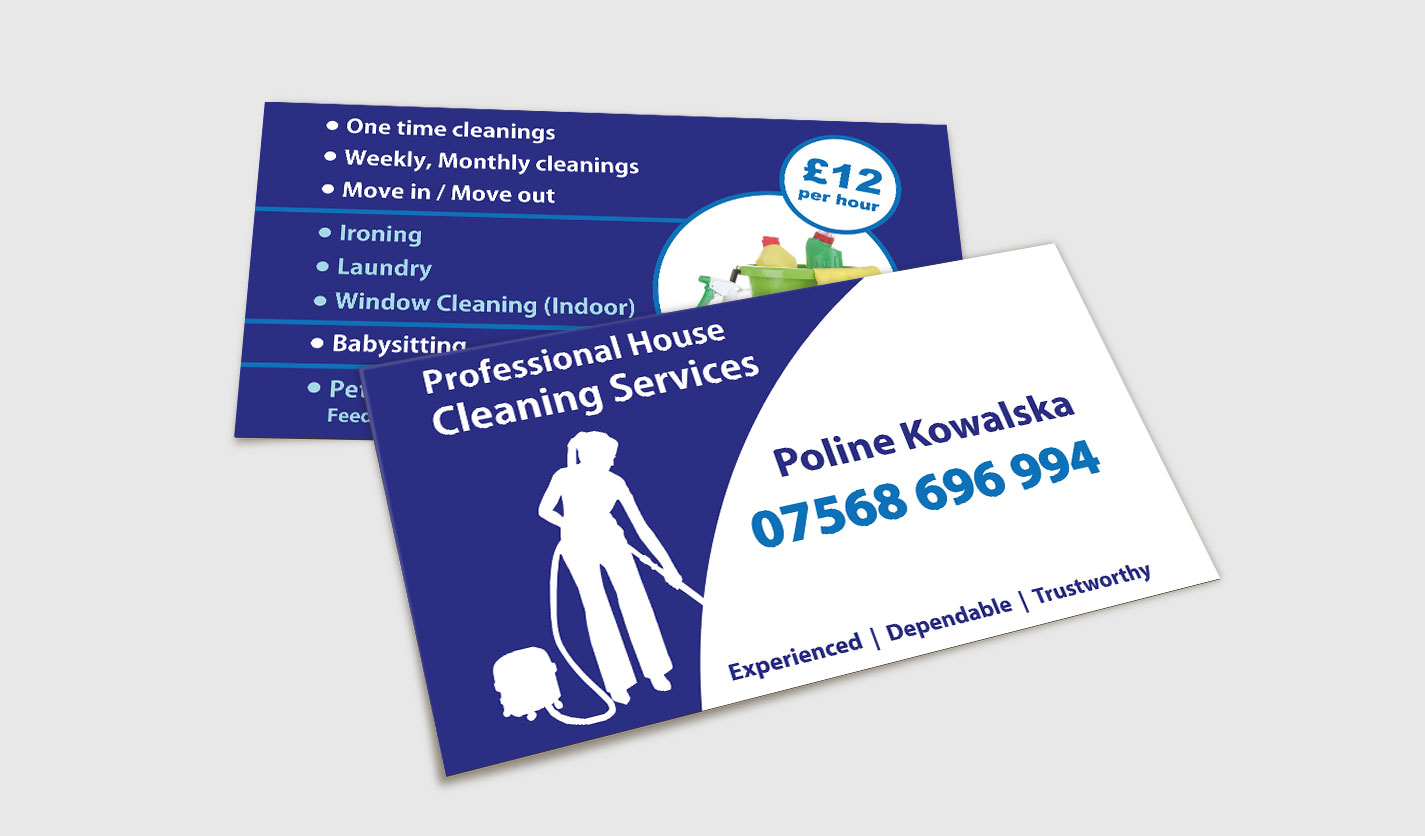 Professional House Cleaning Services - Business Cards - Web ...